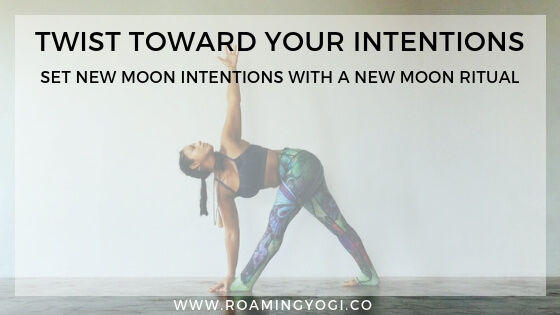 The new moon is a powerful time for setting intentions, and a new moon ritual is the perfect way to set heartfelt new moon intentions with mindfulness. #yoga #newmoonritual #newmoonyoga #newmoonintentions #settingintentions #mindfulness #freeyoga #guidedmeditation