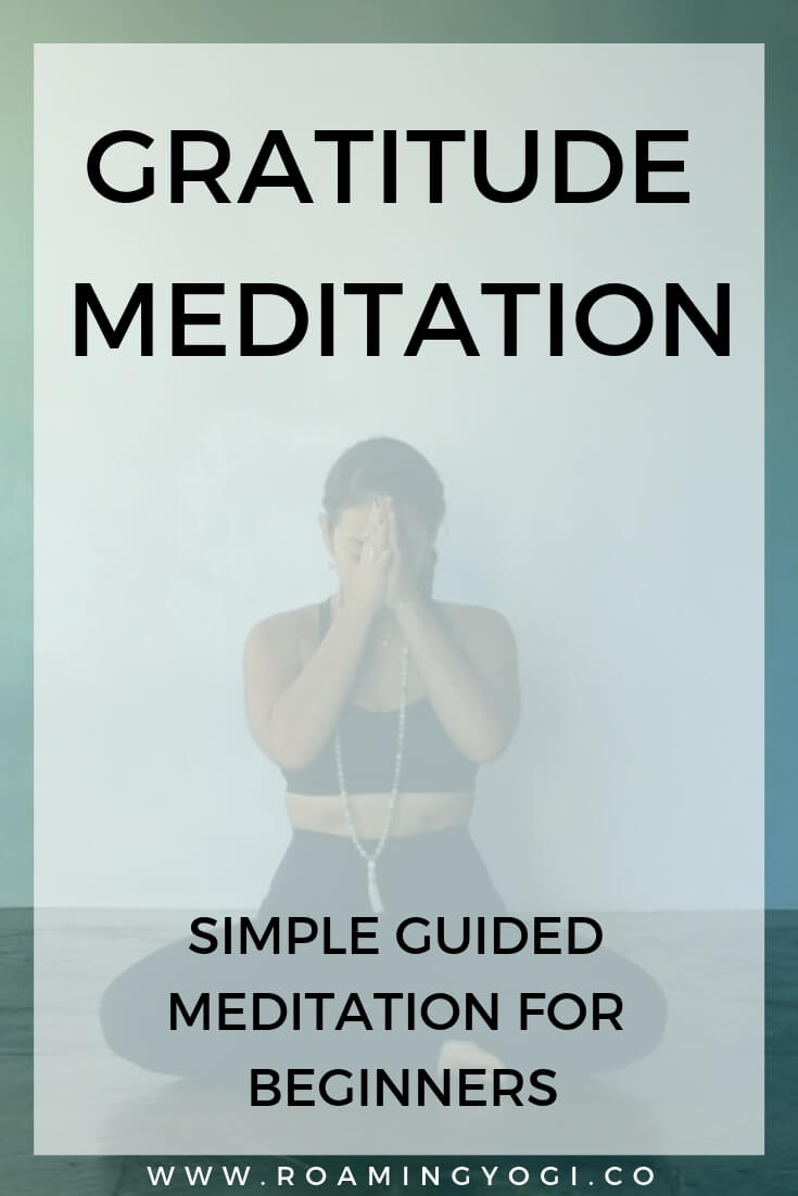 Seated meditation posture with text overlay: Gratitude Meditation. Simple Guided Meditation for Beginners
