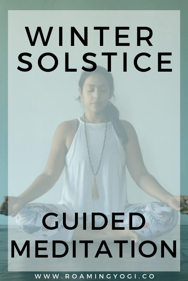 Seated meditation pose image with text overlay: Winter Solstice Guided Meditation