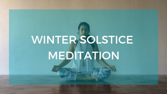 Seated meditation posture image with text overlay: Winter Solstice Meditaiton