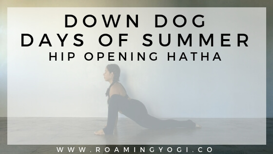 Image of a young woman in the yoga pose Lizard Pose, with text overlay: Down Dog Days of Summer. Hip Opening Hatha. www.roamingyogi.co